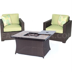 Metropolitan 3-Piece Fire Pit Chat Set in Avocado Green - MET3PCFP-GRN-A