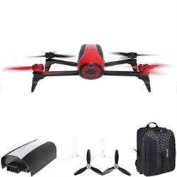 Bebop 2 Quadcopter Drone with HD 14MP Flight Camera (Red) Mobile Command Kit