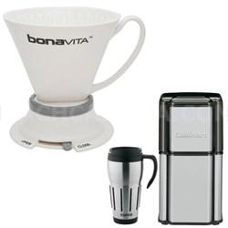 Wide Base Porcelain Immersion Dripper w/ Cuisinart Coffee Grinder Kit