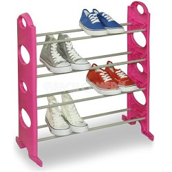 12 Pair Shoe Rack with 4 Tiers - Pink