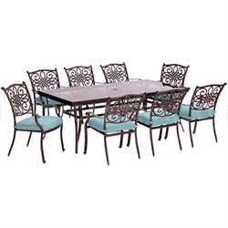 Traditions 9PC Dining Set:8 Chairs (Blue) and 42 x84  Glass Table