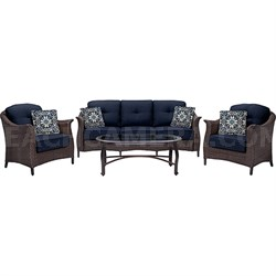Gramercy 4pc Seating Set: 1 Sofa 2 Chairs 1 Glass Top Coffee Table