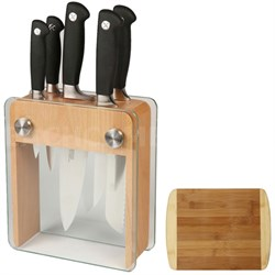 6-Pc. Genesis Knife Block Set - Beech Wood and Glass w/Premium Cutting Board
