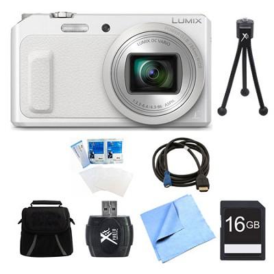 LUMIX DMC-ZS45 20X Zoom White Digital Camera 16GB Bundle