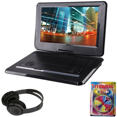 15.6` Port. DVD Player w/ USB/SD Card Reader Black Bluetooth Headphone Bundle
