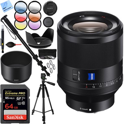 Zeiss Prime Full-Frame T* FE 50mm F1.4 ZA E-Mount Lens - SEL50F14Z 64GB Kit