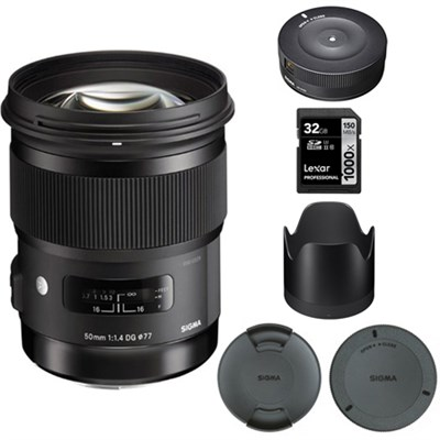 50mm f/1.4 DG HSM Lens for Canon EF Cameras - 693956 with USB Dock Bundle