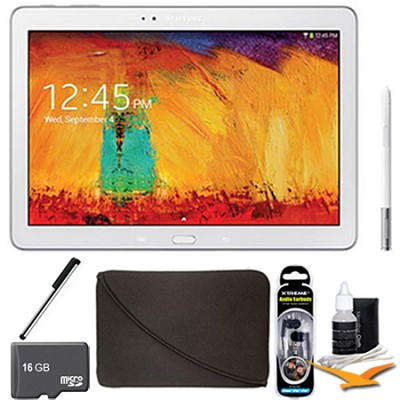 Galaxy Note 10.1 Tablet - 2014 Edition (32GB, WiFi, White) 16 GB Memory Bundle
