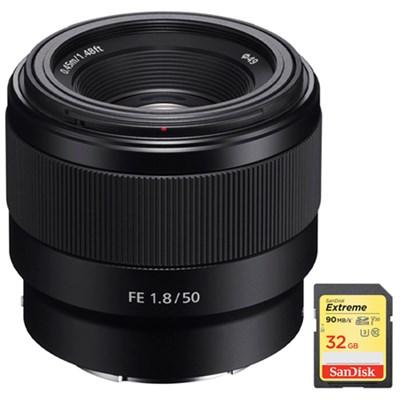 FE 50mm F1.8 Full-frame Prime E-Mount Lens + 32GB Extreme SD Memory Card