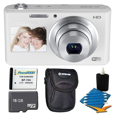 DV150F Dual-View 16.2 MP Smart Camera with Built-in Wi-Fi White 16GB Kit