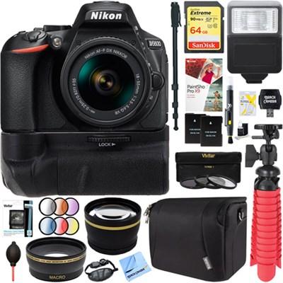 D5600 24.2MP DSLR Camera + AF-P 18-55mm VR Lens Battery Grip Accessory Bundle