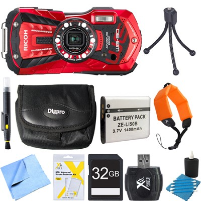 WG-30 16 MP Waterproof Digital Camera with 3-Inch LCD Vermillion Red 32GB Bundle