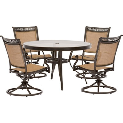 5pc Dining Set: 4 Sling Swivel Chairs 48  Round Glass Top Table