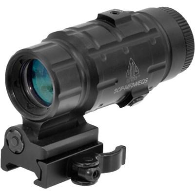 3X Rifle Magnifier Scope w/ Flip-to-side QD Mount, W/E Adjustable - SCP-MF3WEQS