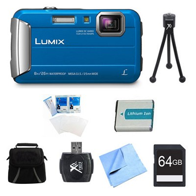 LUMIX DMC-TS30 Active Tough Blue Digital Camera 64GB Bundle