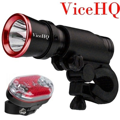 Super Bright CREE LED Torch Flashlight with bonus 9-LED Safety Taillight