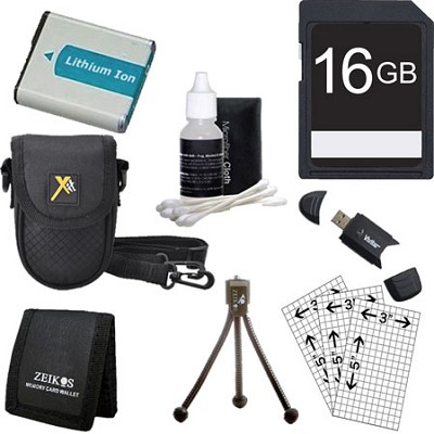 16G SD Card, Card Reader,Spare Battery,Case,Mini Tripod,Lens Cleaner, LCD Guards