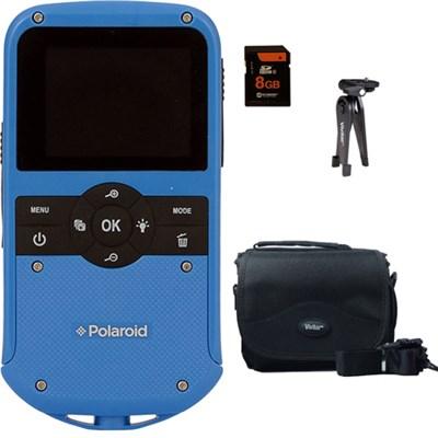 Polaroid ID610 Water Resistant HD Pocket Digital Camera - Blue Accessory Kit