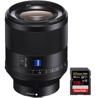 Zeiss Prime Planar T* FE 50mm F1.4 ZA E-Mount Lens w/ 128GB Memory Card