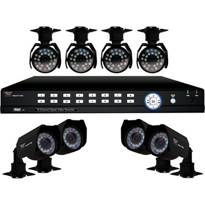 16 Channel 500GB DVR Video Security System w/8 Vandal-Proof Night Vision Cameras