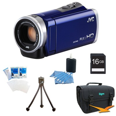 GZ-E300AUS - HD Everio Camcorder 40x Zoom f1.8 (Blue) with 16GB Bundle