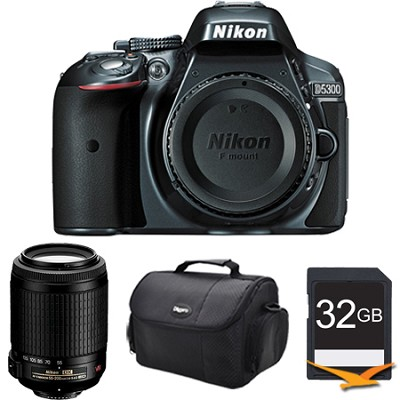 D5300 DX-Format 24.2 MP DSLR Body (Gray) with 55-200mm VR Zoom Lens Bundle