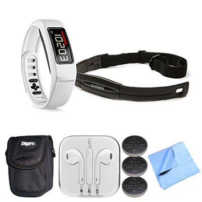 Vivofit 2 Fitness Band Bundle w Heart Rate Monitor (White)(010-01503-31) Bundle
