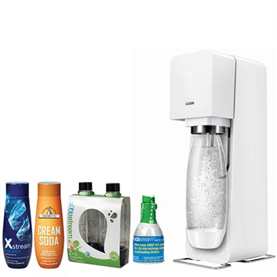 Source Home Soda Maker Starter Kit, White with Soda Maker Bundle