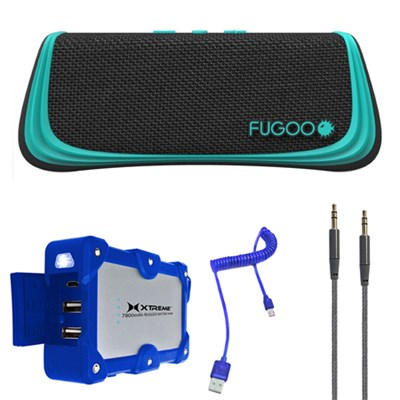 Sport Port. Waterproof Bluetooth Speaker Black/Green Mobile Power Kit F6SPKG01