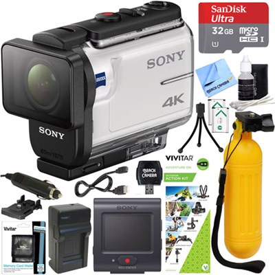 FDR-X3000R 4K Action Camera w/ Live View Remote + Outdoor Action Kit Bundle