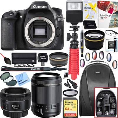 EOS 80D 24.2MP CMOS DSLR Camera-Body + 18-200mm and 50mm f/1.8 Lens Bundle
