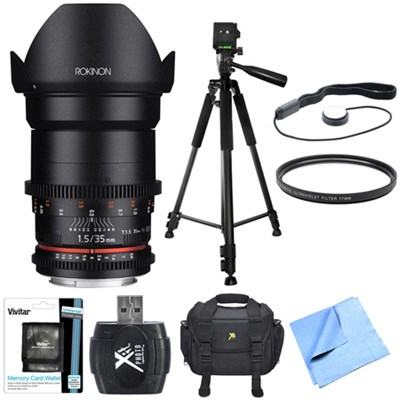 DS 35mm T1.5 Full Frame Wide Angle Cine Lens for Canon EF Mount Bundle