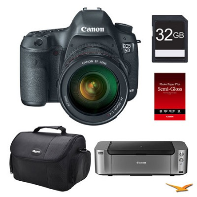 5D Mark III DSLR Camera w/ 24-105mm F/4 L IS Lens + Printer / Paper / 32GB Card