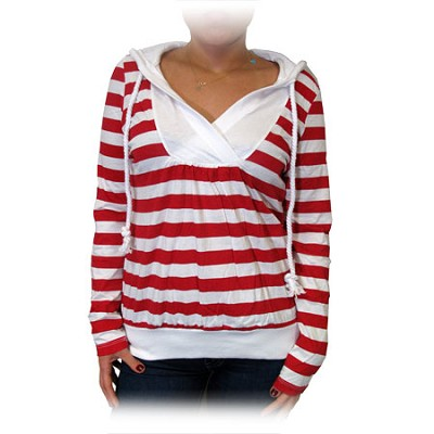 Nautical Stripe Lightweight Hoodie with Pull String - Red/White (Size: Large)