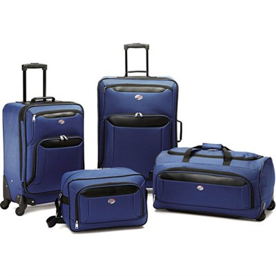 Brookfield Navy 4 Pc Luggage Set (21` & 25` Spinners, Boarding, Wheeled Duffle)