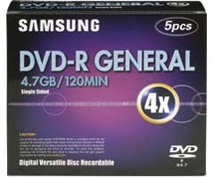 4X DVD-R 4.7 GB 5-Pack with Jewel Cases