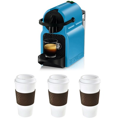 Inissia Espresso Maker (Pacific Blue) Reusable To Go Mug 3-Pack (Brown) Bundle