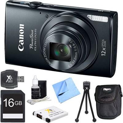 PowerShot ELPH 170 IS 20MP 12x Opt Zoom Digital Camera - Black 16 GB Bundle