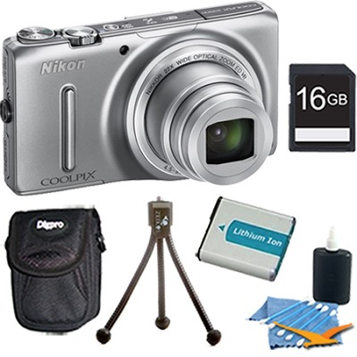 COOLPIX S9500 18.1 MP 22x Zoom Wi-Fi Digital Camera Silver Plus 16GB Kit