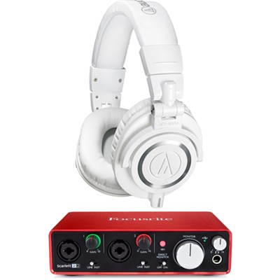 ATH-M50X Professional Studio Headphones (White) w/ USB Audio Interface Bundle