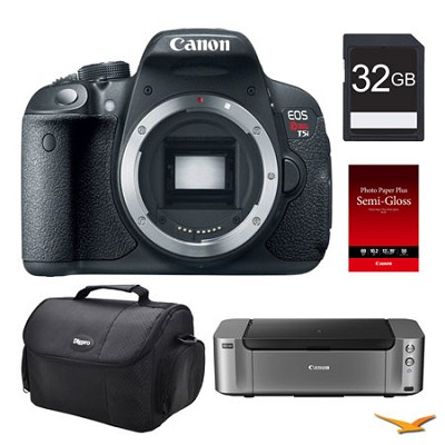 EOS T5i DSLR Camera (Body), 32GB, Printer Bundle