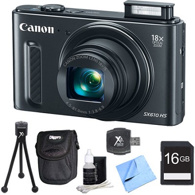 PowerShot SX610 HS 20.2 MP Digital Camera 18x Zoom 3` LCD - Black 16GB Bundle