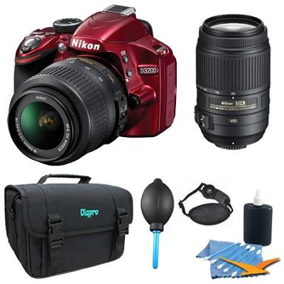 D3200 DX-format DSLR Kit w/ 18-55mm DX VR Zoom Lens and 55-300mm VR Lens (Red)