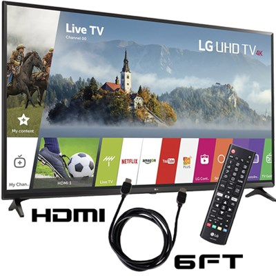 43UJ6300 - 43-inch UHD 4K HDR Smart LED TV (2017 Model) with 6ft HDMI Cable