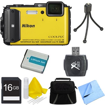 COOLPIX AW130 Waterproof Shockproof Freezeproof Digital Camera 16GB Bundle YLW