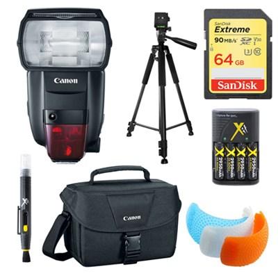 600EX II-RT Speedlite Flash, 64GB Card, Bag, and Accessories Bundle