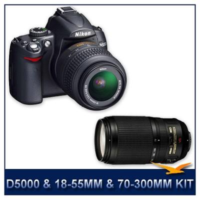 D5000 DX-Format Digital SLR w/ 18-55mm & 70-300mm Lens Instant Rebate Bundle
