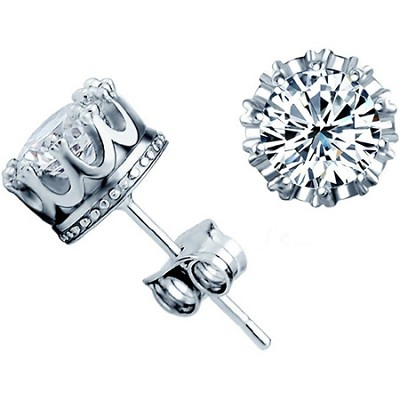 925 Sterling Silver Cubic Zirconia White Sapphire Earrings
