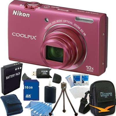 COOLPIX S6200 Pink 10x Zoom 16MP Camera 16GB Bundle