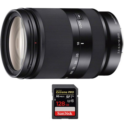 Zoom E-Mount lens 18-200 mm f/3.5-5.6 OSS LE with Sandisk 128GB Memory Card